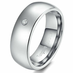 8MM Men's Jewelry Tungsten Ring Glossy Silver Domed Single CZ Stone Wedding Band