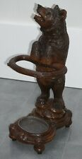 ANTIQUE BLACK FOREST CARVED WOOD BEAR UMBRELLA STAND