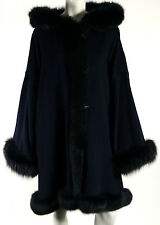 REVILLON PARIS Midnight Blue Wool Cashmere Fox Fur Trim Hooded Cape Coat