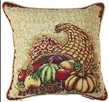 """Violet Linen Fall Harvest Cornucopia with Pumpkins and Fruit Throw Pillow 18"""" Sq"""