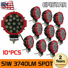 10X 7inch 51W Spot LED Light Off-road Round Work Roof Lamp Truck 4WD ATV SUV RED