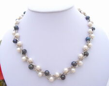 "17.5"" 6.5mm Black White Pearl  Necklace"