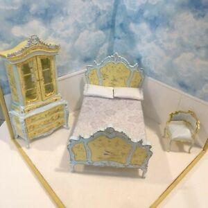BESPAQ  DOLLHOUSE MINIATURE painted bed hutch & corner chair GORGEOUS SET
