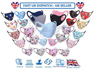 Children Kids Adults Face Mask Mouth Protection Cover Washable Reusable Unisex