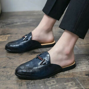 Men's Half Dress Shoes Pu Leather Slippers Moccasins Lazy Loafers Casual Sandals