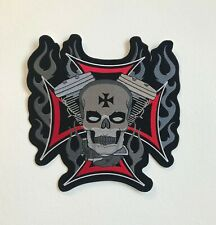 Motorcycles Rider Skull Flame Large Biker Jacket Back Sew On Embroidered Patch