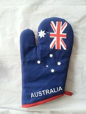 AUSTRALIAN SOUVENIR  OVEN GLOVE AUS FLAG DESIGN 100% COTTON