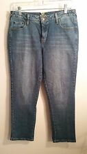 Womens Garnett Hill capri cropped Jeans size 10 whiskered blue denim 31 x 26