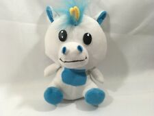 "Peek A Boo Toys Blue White Plush Stuffed Baby Boy Unicorn Toy 7"" tall"