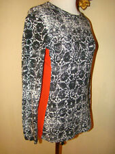 Narciso Rodriguez PAPERIE BLACK WHITE ORANGE ACCENT LONG SLEEVE BLOUSE SIZE M
