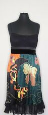 Sue Wong Black Green Purple Pink Velvet Silk Butterfly Cocktail Dress size 8
