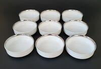 Fukagawa Arita Platinum Coaster Sauce Bowl Made in Japan White Set of Nine (9)