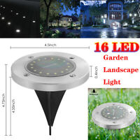 16 LED Solar Power Buried Light Under Ground Disk Light Path Way Waterproof Lamp