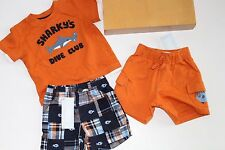 Gymboree Baby Boys Swim School Top Fish Shorts Size 3-6 Months Shark Alert NWT