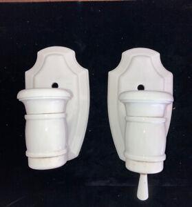 Vintage Matched Set Lightolier Art Deco Porcelain Light Sconces Fixtures