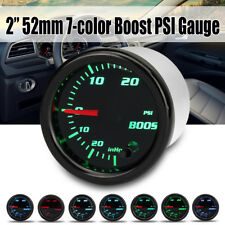 2'' 52mm 7 Color LED Car Turbo Boost 30PSI Pressure Vacuum Gauge Meter 12V Black