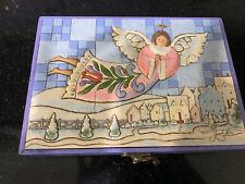 Jim Shore Set Of Angel Ornaments in Wooden Collectors Box