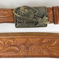 1989 Boy Scouts National Jamboree Belt Buckle & Hand Tooled Leather Belt Sz 44