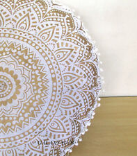 "28"" Handmade White Golden Round Pillow Cover Bohemian Floor Cushion Pouf Cover"