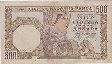 Serbia Yugoslavia banknotes 500 Dinara 1941 - Germany occupation War !