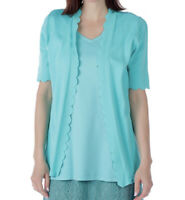 NEW Isaac Mizrahi Live! Turquoise Open Front Scallop Trim Cardigan Size XS 1L