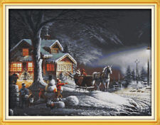 Joy Sunday Winter Snow Counted Cross Stitch Kit 14CT 29 * 23in Embroidery Fabric