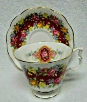Royal Albert  Garland Series Elegance Fushia Band Cup And Saucer