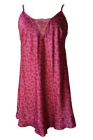 Ladies Satin chemise/ nightie with lace sizes 10-22 Pink with Love Heart pattern