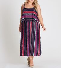 Autograph Striped Maxi Dress Layered Bodice Overlay Size 16 - New.