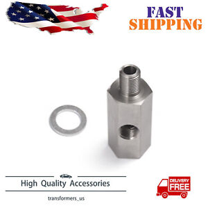 Stainless 1/8'' NPT Oil Pressure Sensor Tee - NPT Adapter Turbo Supply Feed Line