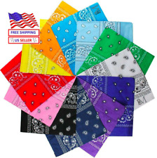 3-6-12 Pcs Paisley Print Bandana 100% Cotton Face Mask Cover Head Warp Scarf Lot