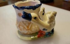 "VINTAGE PORCELAIN DUCK with CANDLE HOLDER 2.25"" in hi rare country style GIFT"
