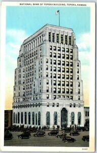 "Topeka, Kansas Postcard ""NATIONAL BANK OF TOPEKA BUILDING"" Street View c1930s"