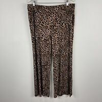 Nina Leonard Womens Pants XL Plus Size Multicoloured Animal Print Elastic Waist