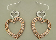 Luxus Ohrhänger Silber 925 - Herz Ohrschmuck Rotgold mit Zirkonia - Ohrringe 925