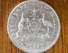1936 Australian Silver TWO Shilling Florin (TWO BOB) KING GEORGE V  (very Nice)