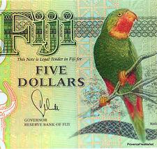 Un beau billet des FIDJI , FIJI , PERROQUET , Neuf , Polymer , 5 DOLLARS