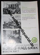 Advertising Sheet UM 1935 Borsig Hall Water Works Pump Advertising Advertising 2 Sided
