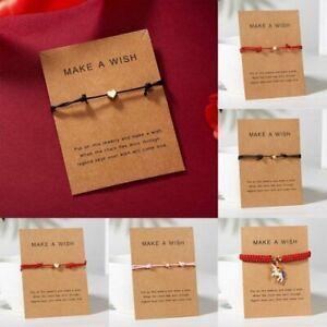 Handmade Heart Star Rope Bracelet Bangle Friendship Couple Card Jewelry Gift HOT