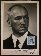 1948 Prague Czechoslovakia Maxi Postcard Cover Dr Edvard Benes President