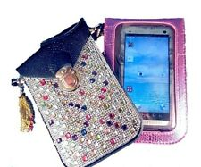 Leather & Crystals Phone Purse 2 Pockets Cross body Hand Bag Pouch +Chain Tassel