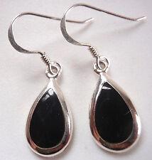Black Onyx Teardrops of Silver 925 Sterling Dangle Earrings Corona Sun Jewelry
