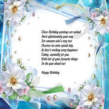 8 x 8  floral  design  birthday  verse insert x 15