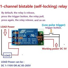 1ch 5V Latch Relay Module Flip-Flop Bistable Self-locking Trigger Switch Board