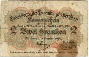 LUXEMBOURG BANKNOTE 2 P28 1918 F