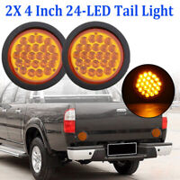 "2x 4"" Round Amber Cover Yellow 24 LED Stop Tail Turn Signal Light Waterproof 12V"