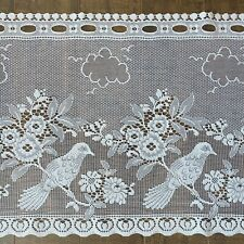"""Nottingham Lace Birds 18"""" Valance Fabric White Curtain Lace by Yard Made in UK"""