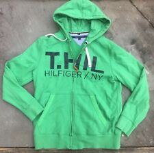 NICE Tommy Hilfiger Green Full Zip Hoodie T.HIL Hilfiger NY Size Large spellout
