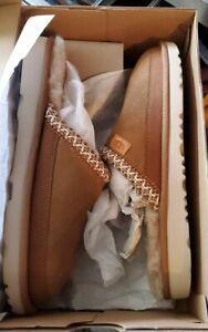 ugg slippers k Tasman ii brown embroidered size 5 slip on
