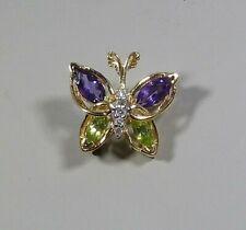And Diamond Brooch Pin Pendant New listing 14K Yellow Gold Amethyst/ Peridot